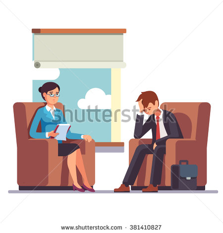 Broken businessman talking to psychologist. Psychotherapy.