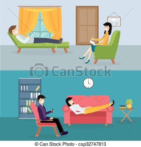 Vector Clip Art of Psychologist office cabinet room vector.