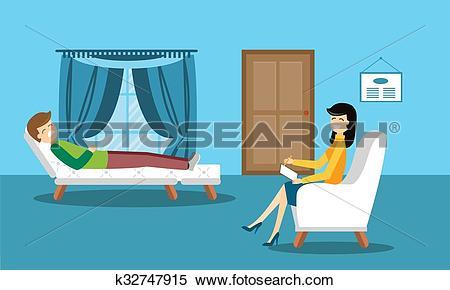 Clipart of Psychologist office cabinet room vector illustration.