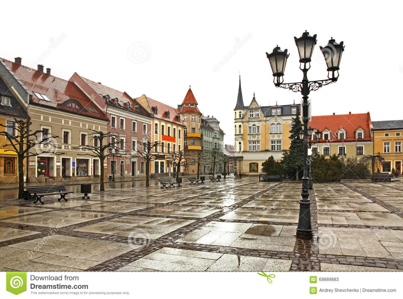 Marketplace In Pszczyna Town. Poland Stock Photo.