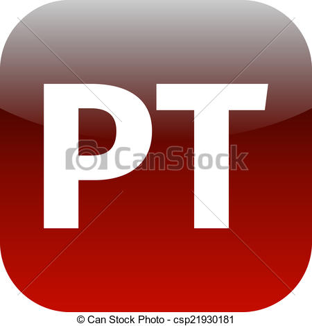 Stock Illustration of red PT icon.