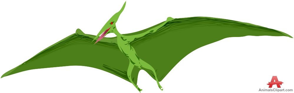 Green Pterodactyls Clipart.