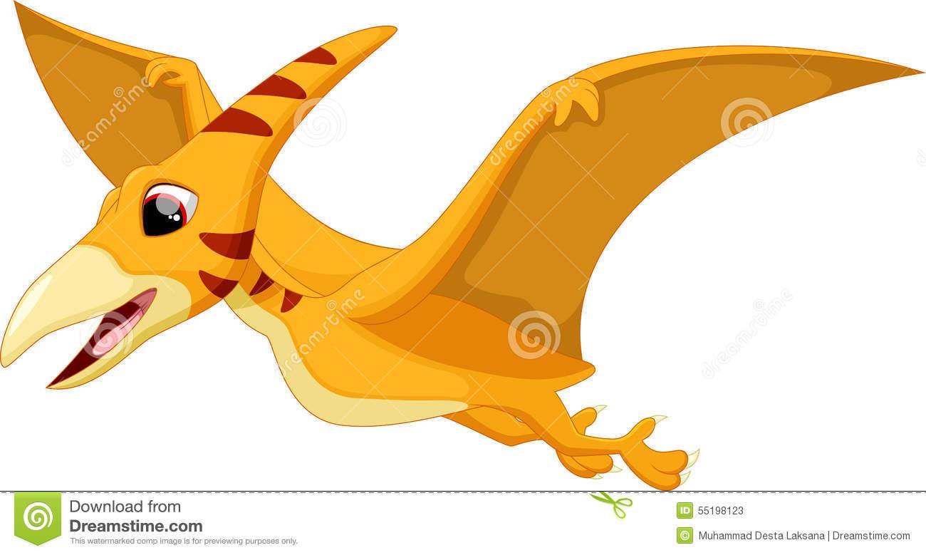 Cute Pterodactyl Cartoon Stock Illustration.