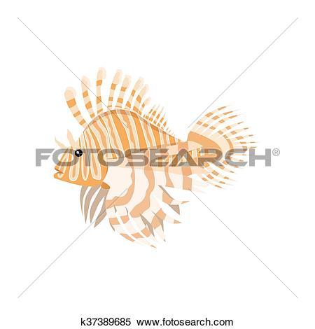 Clipart of Tropical Fish Lionfish Pterois Volitans k37389685.
