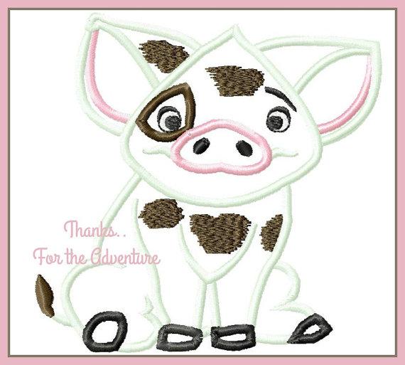 Moana Island Princess Pua the Pig Digital Embroidery Machine.