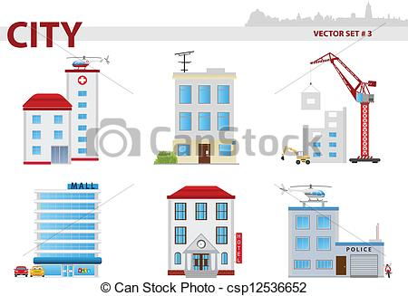 Clipart Vector of Public building. Set 3.