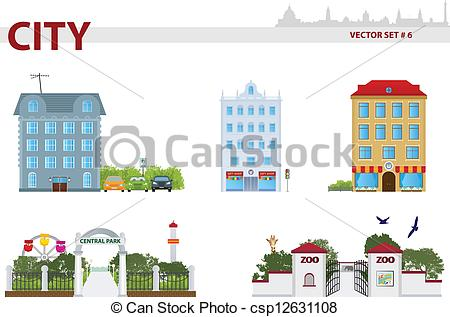 Vector Clipart of Public building. Set 6. House, park and zoo.