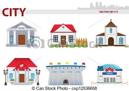 Clipart Vector of Public building. Set 4..