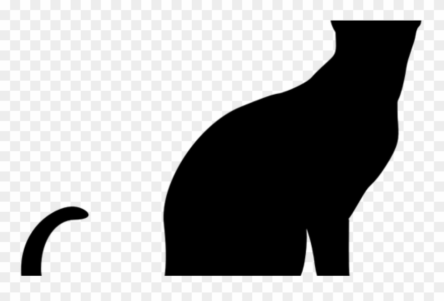 Sitting Cat Silhouette Vector Clip Art Public Domain.