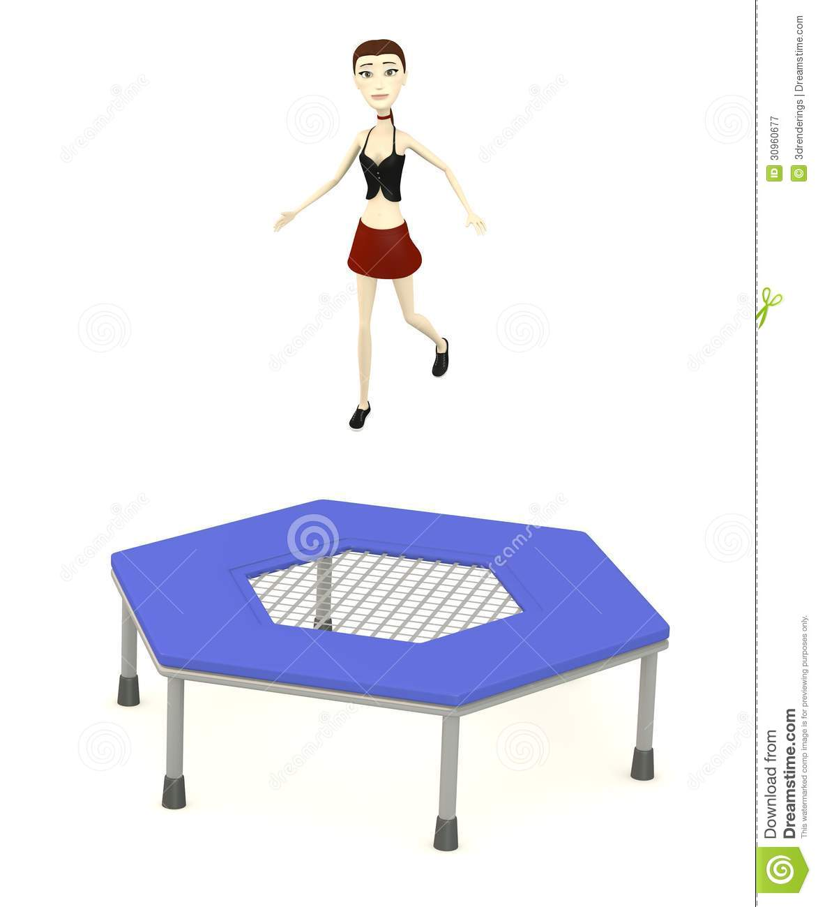 Cartoon Girl Workout On Trampoline Royalty Free Stock Photography.