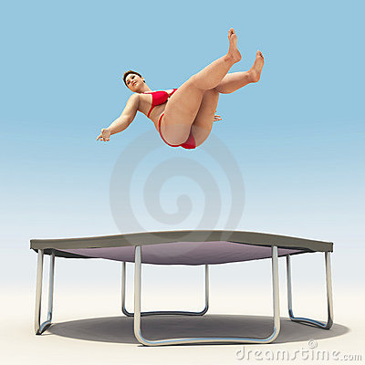 topless woman jumping on a trampoline
