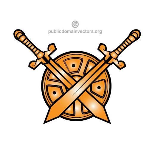 Crossed swords vector clip art.