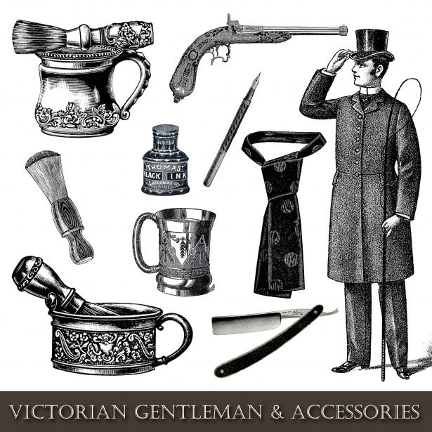 Vintage Man Accessories Clipart Free Stock Photo.