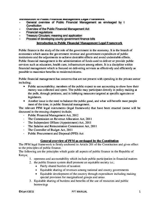 PDF) Introduction to Public Financial Management Legal.