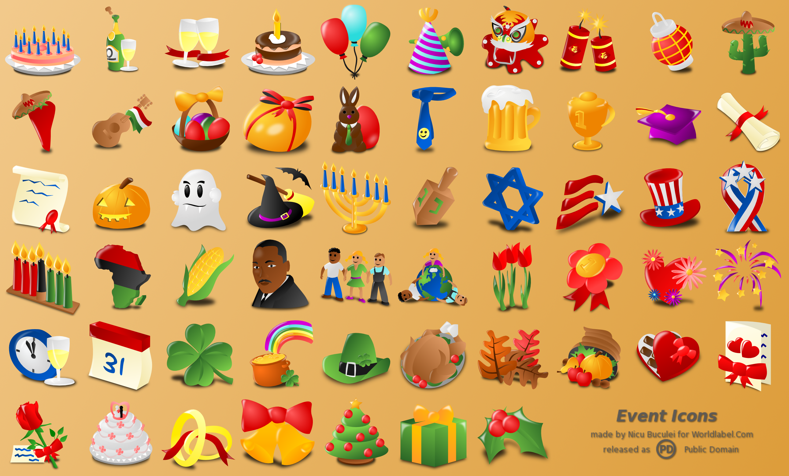 Free Web Icons for Events, Holidays & Occasions.