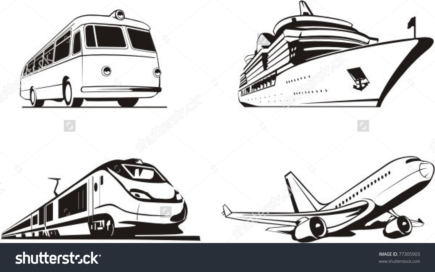 Transportation Passenger By All Means Transport Stock Vector.