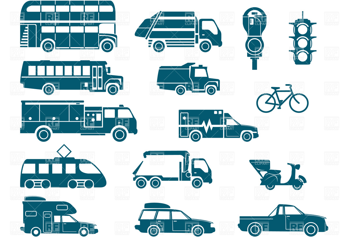 Types of transportation clipart.