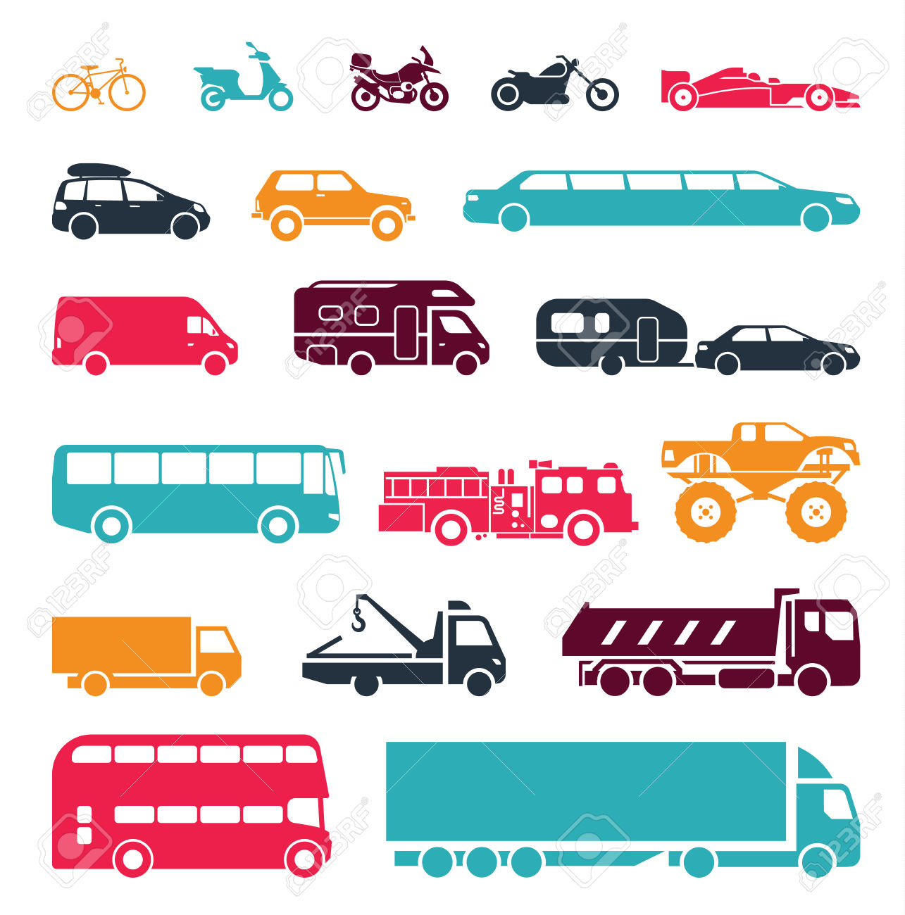 Collection Of Signs Presenting Different Modes Of Transport On.