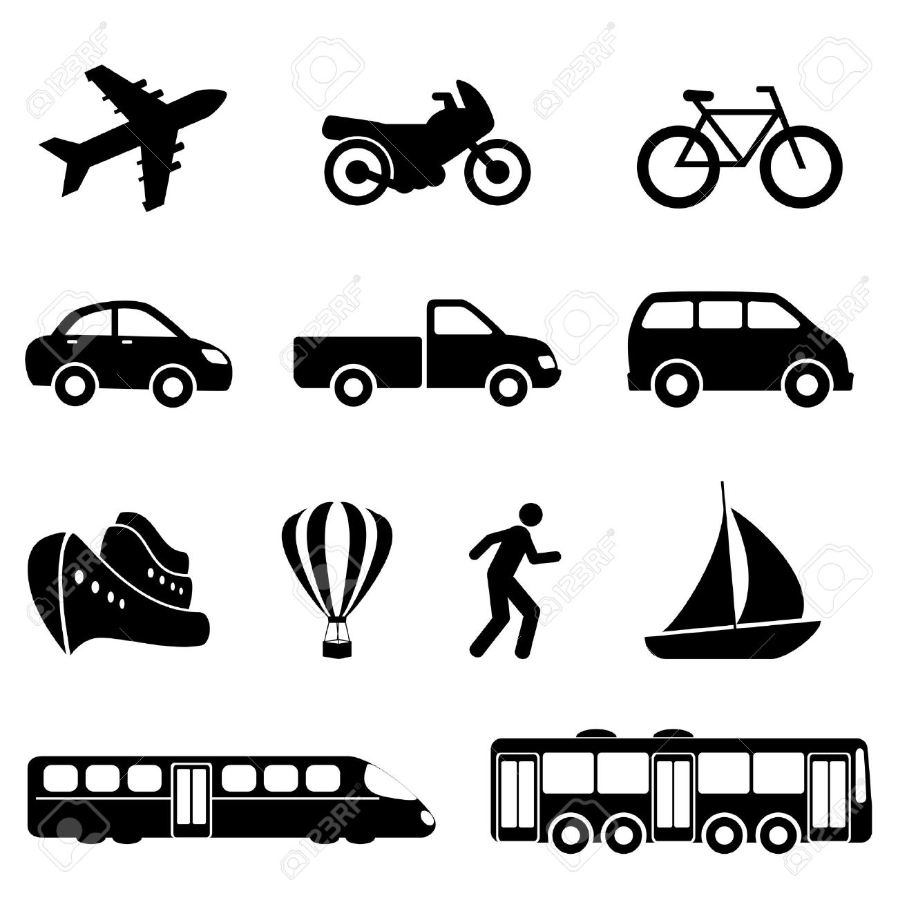 Icons For Various Means Of Transportation Royalty Free Cliparts.