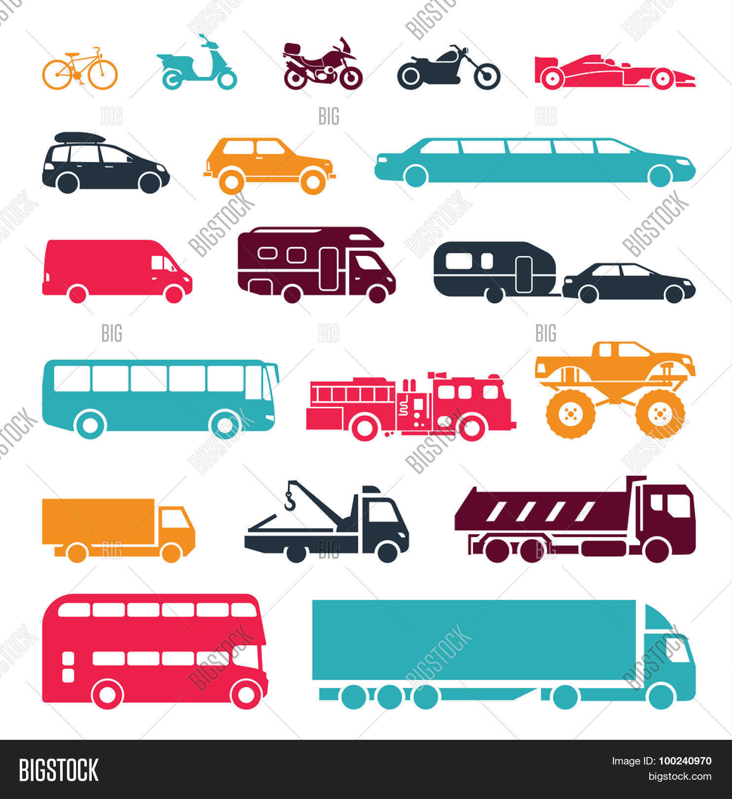 Signs presenting different means of transportation. Collection of.