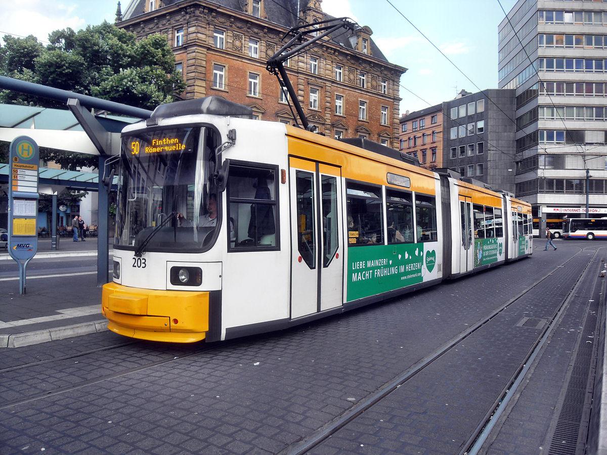 Trams in Mainz.