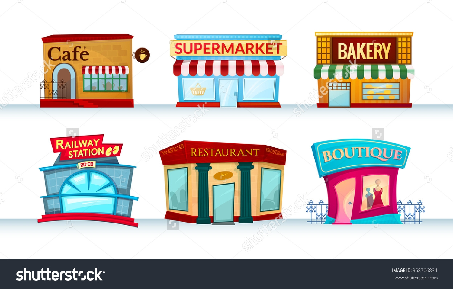 place clipart places different facilities shops vector icons canteens illustration cliparts shutterstock eso 1st clipground site type alzina efl