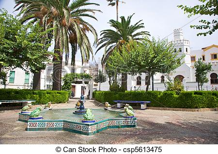 Stock Images of public square at Tarifa village in Andalusia Spain.