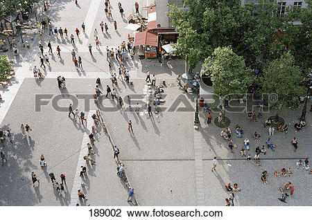 Stock Photo of View of crowded public square from above 189002.