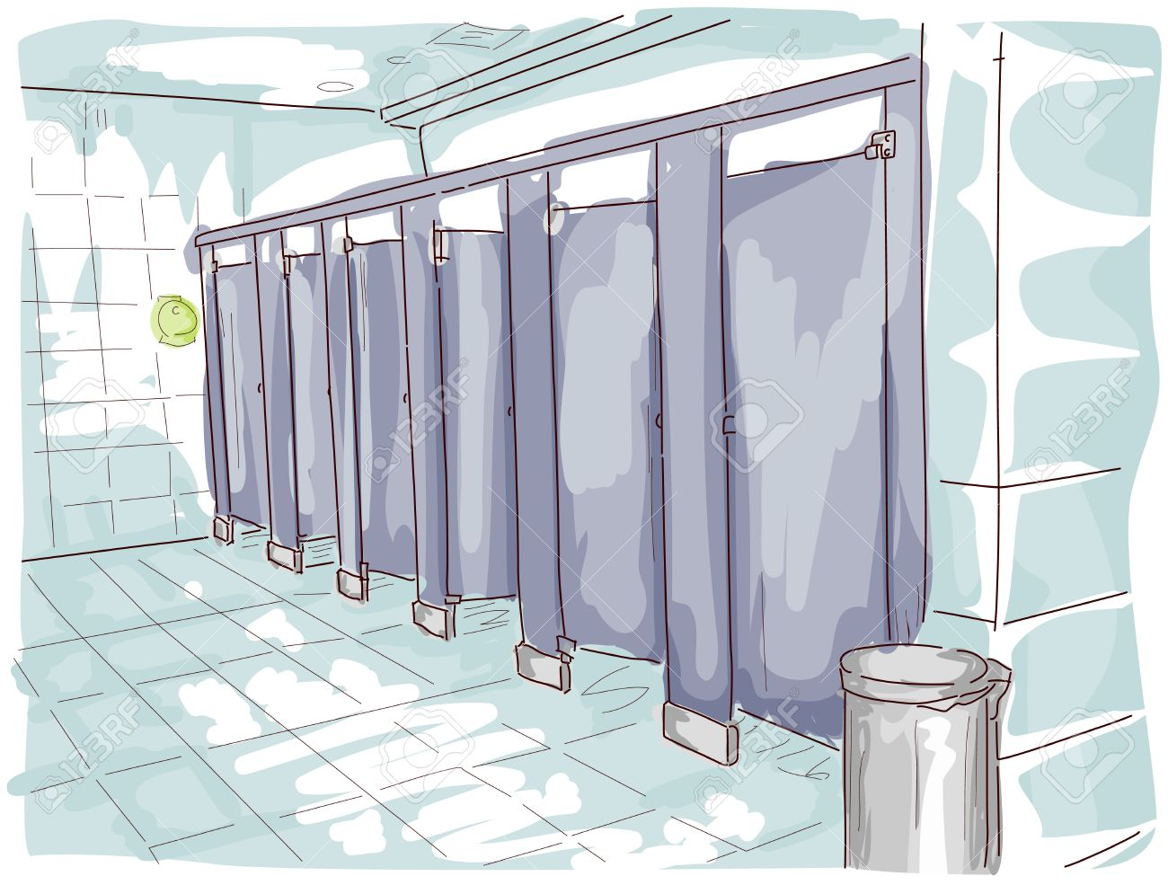 Public Toilet Illustration Stock Photo, Picture And Royalty Free.