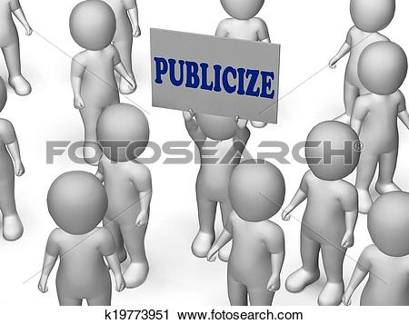 Clipart of Publicize Board Character Shows Product Advertising Or.