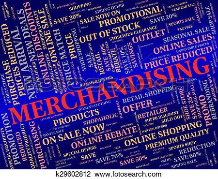 Clip Art of Merchandising Word Represents Publicize Trade And.
