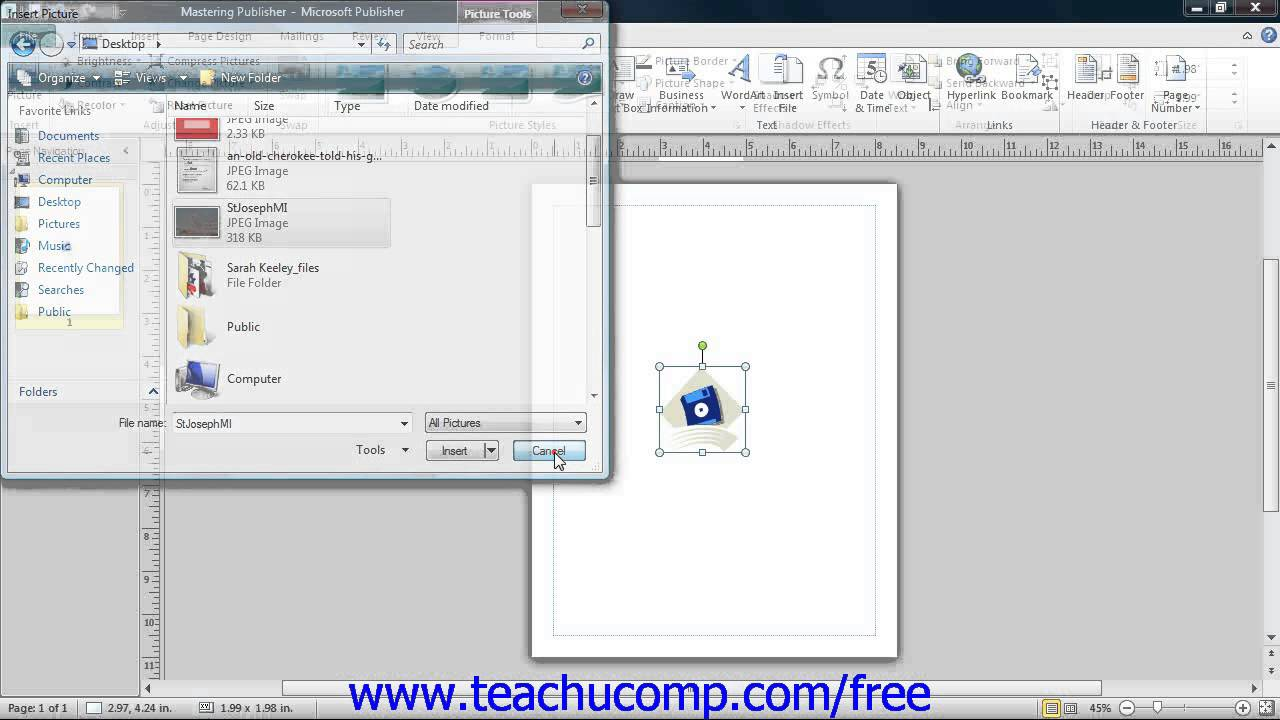 Publisher 2013 Tutorial Inserting Clip Art and Pictures Microsoft Training  Lesson 3.8.