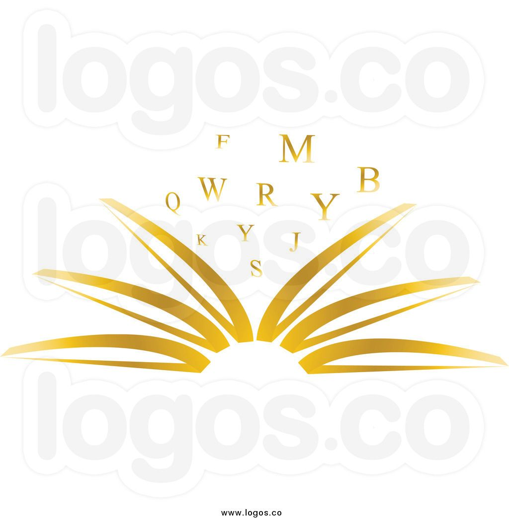 Royalty Free Clip Art Vector Logo of an Open Gold Publisher.