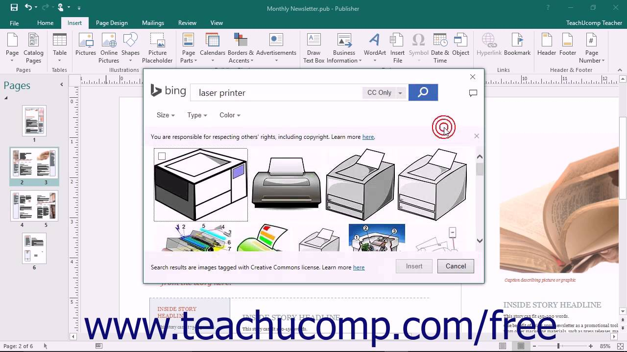 Publisher 2016 Tutorial Inserting Online Pictures Microsoft Training.