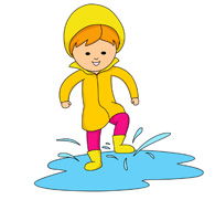 Girl Splashing In Puddles Clipart.