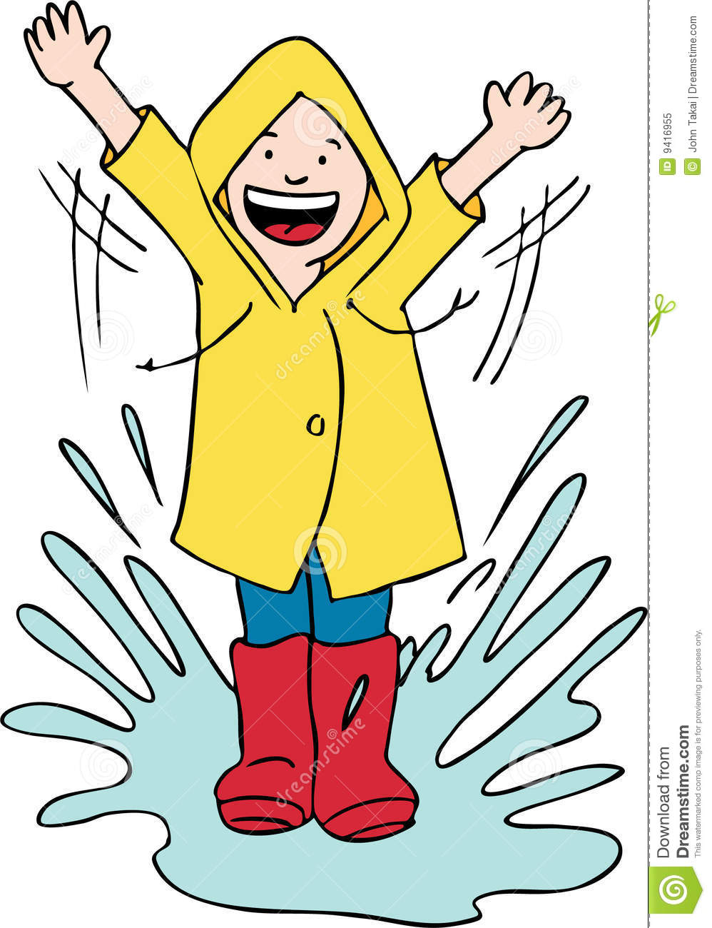 Playing In Puddles Clipart.