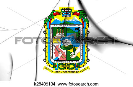 Drawings of Flag of the Puebla State, Mexico. k28405134.