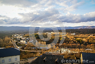 Winter In Puebla De Sanabria, Castilla Y Leon, Spain Stock Photo.