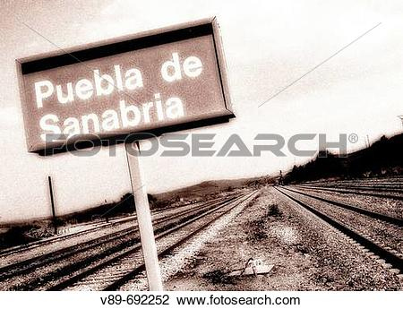 Stock Photo of Puebla de Sanabria train station sign. Zamora.