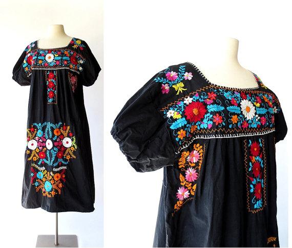 Mexican Embroidered Dress / Puebla Dress / Black Floral Dress.