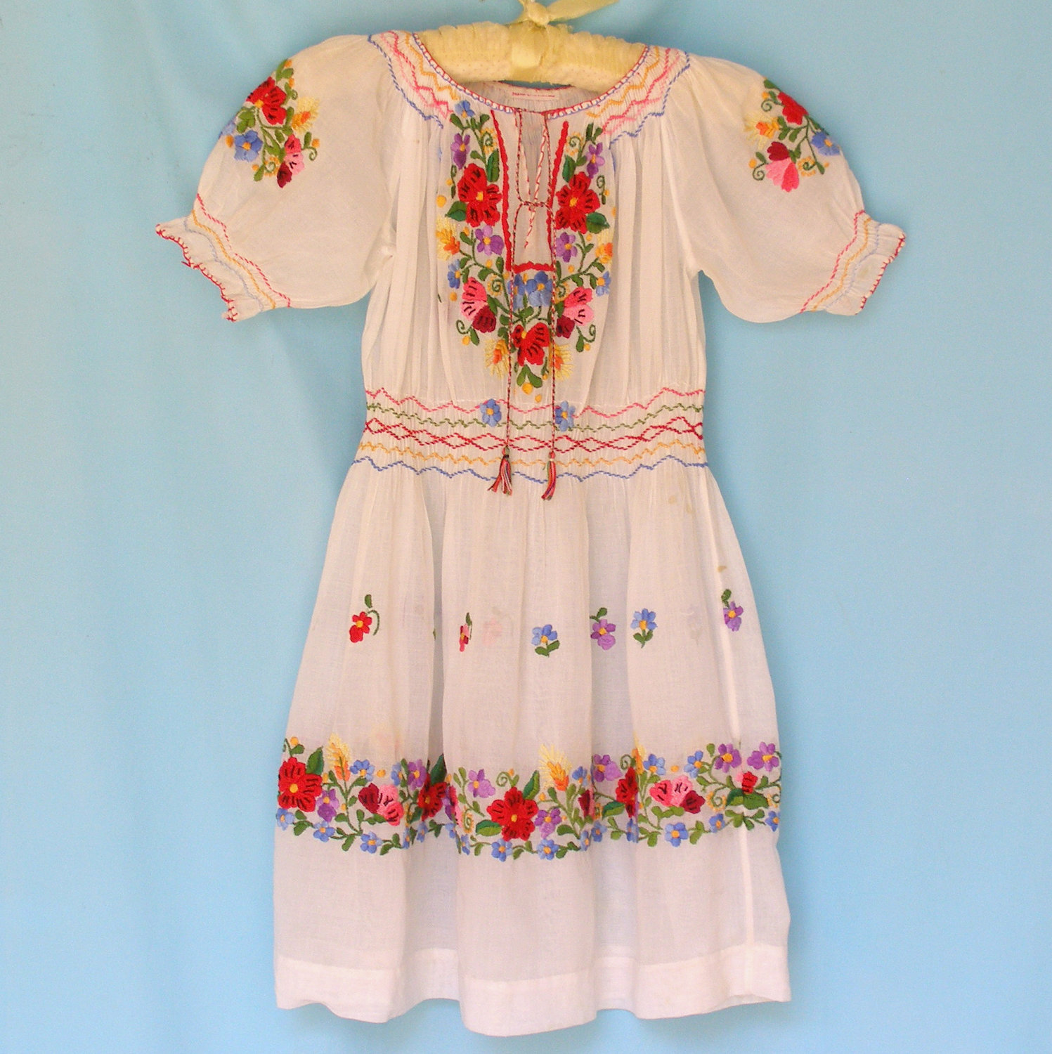 Antique 1920s Child's Hungarian Peasant Dress. Sheer Cotton Floral.