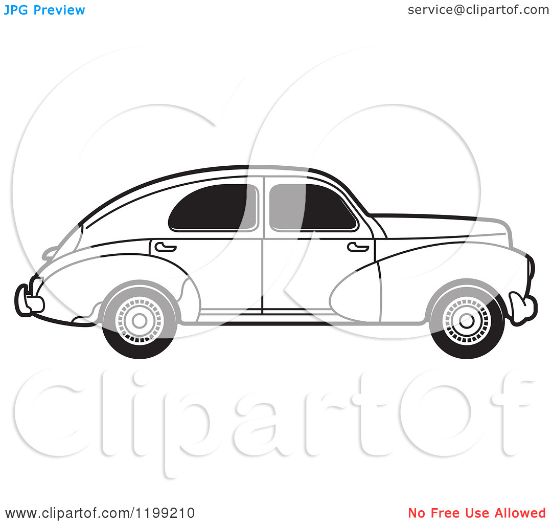 Clipart of a Vintage Black and White Peugeot Car with Tinted.