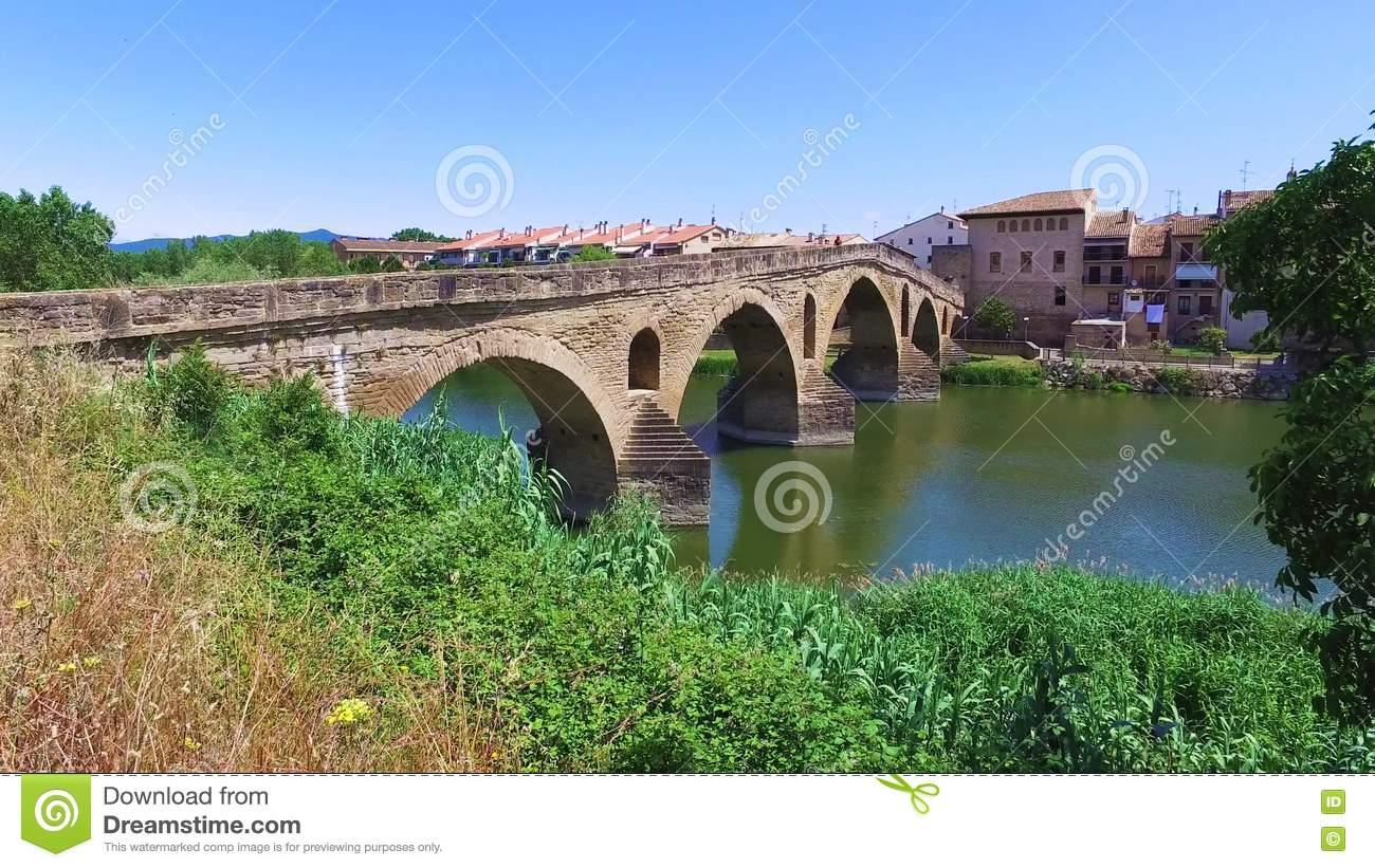 Roman Bridge Across The Arga River In Puente La Reina Stock Video.