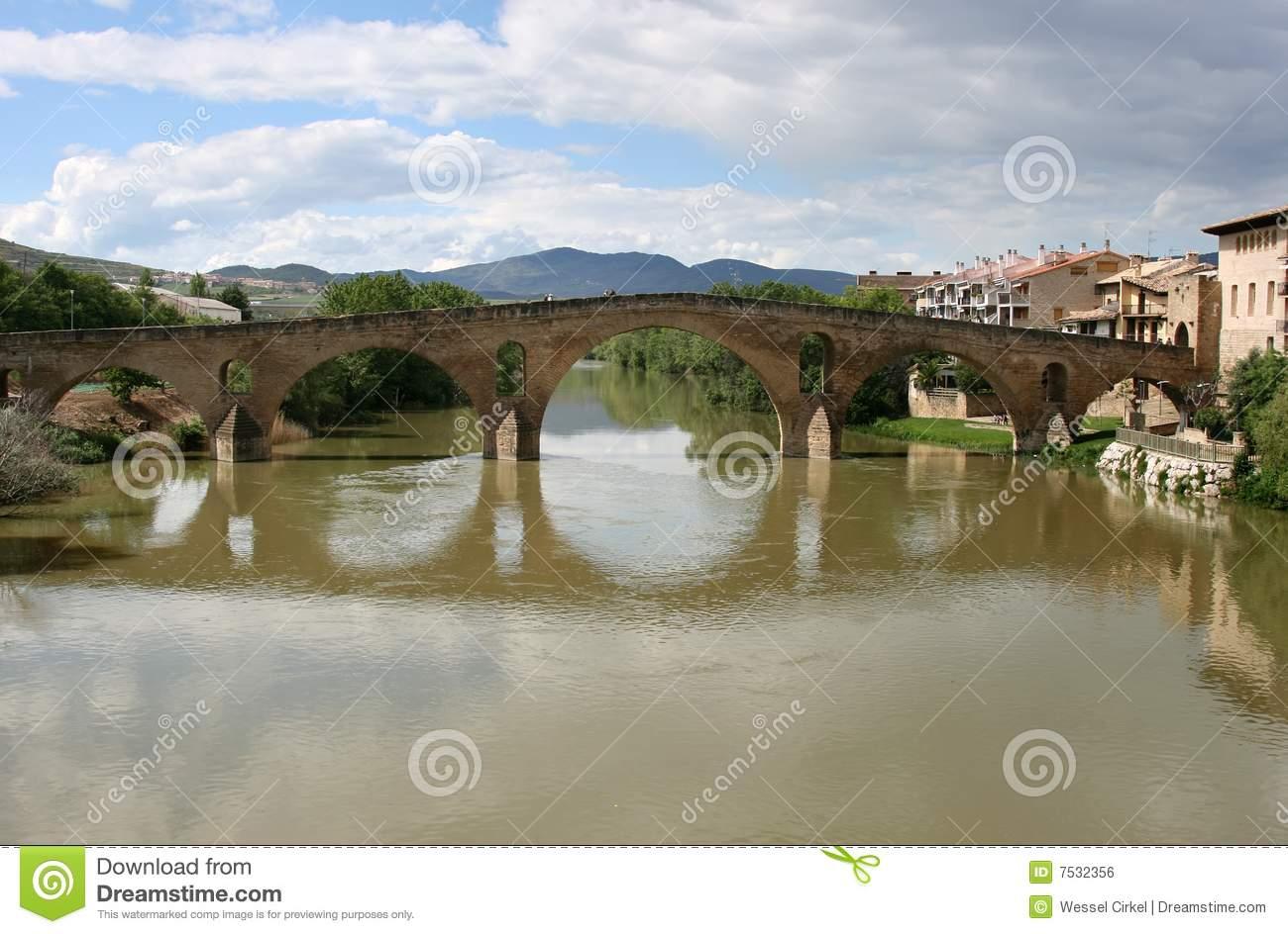 Roman Bridge Of Puente La Reina, Spain Royalty Free Stock Image.
