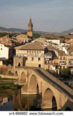Stock Photo of Romanesque bridge, Puente La Reina (Gares), Navarra.