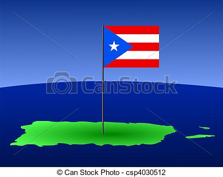 Clip Art of map of puerto rico with flag.