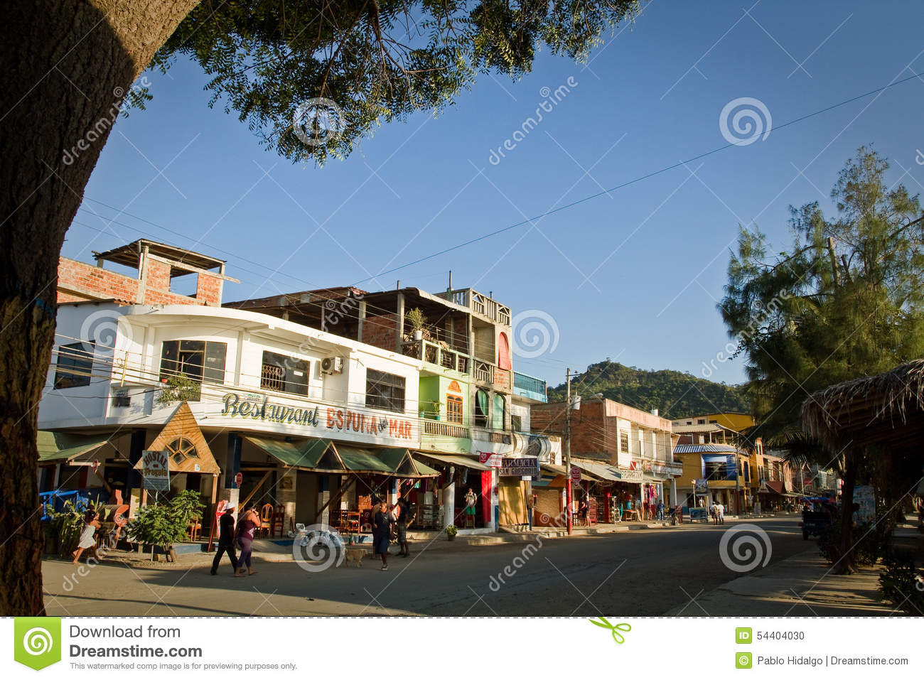 Main Street View Of Puerto Lopez, Popular Vacation Editorial Image.