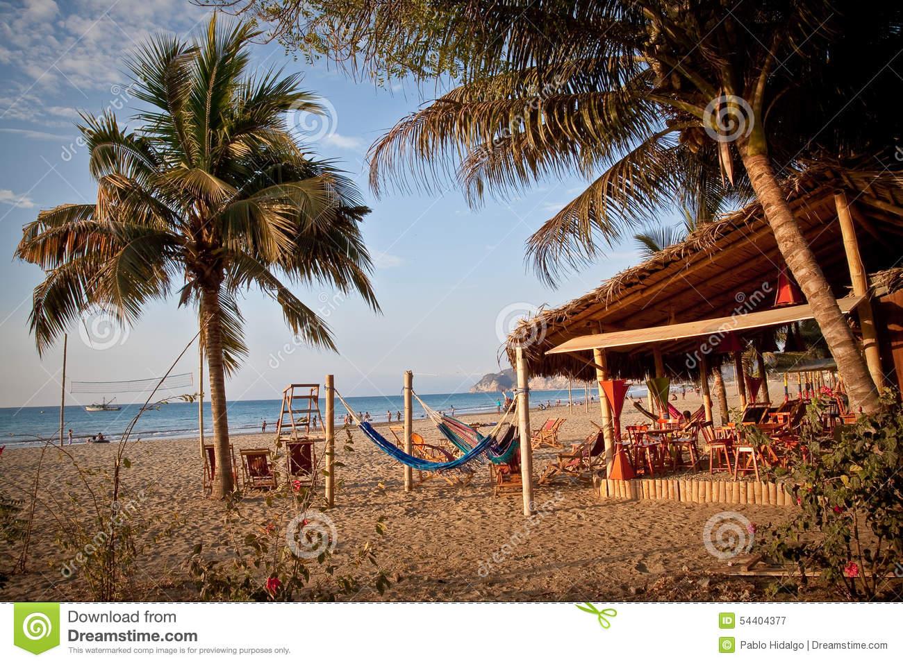 Bungalow Beach Bar In Puerto Lopez, Manabi Editorial Photography.