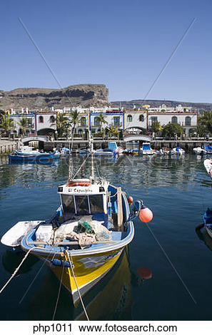 Stock Photography of Picturesque and colourful Puerto De Mogan in.