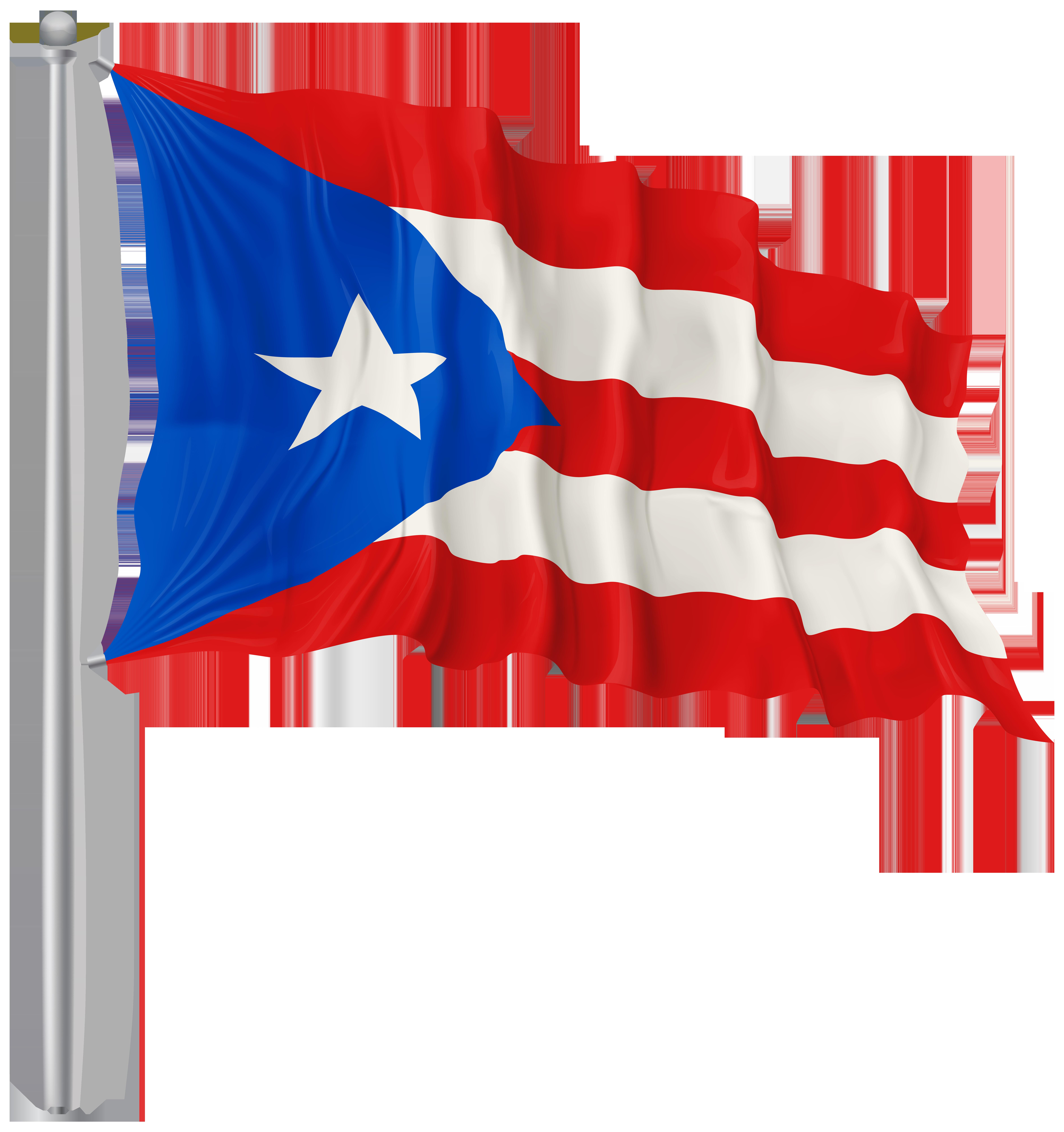 Puerto Rico Waving Flag PNG Image.